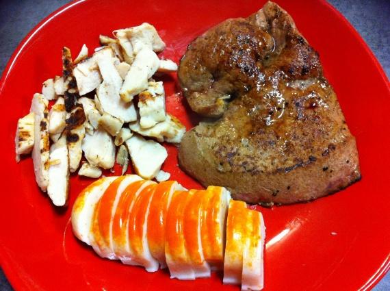 Surimi goût langoustine, foie de veau, aiguillettes de poulet