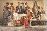 Jésus lave les pieds des apôtres Jean 13:4–15; Version inspirée de Joseph Smith, Jean 13:8–10