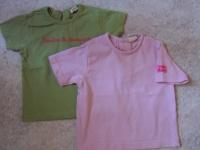 2 t.Shirts MC (1 vert grain de blé 18 mois ; 1 rose 12 mois)