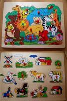 7€ les 2 puzzles bois Mme PETIT Mde Maisse Le 19-02.16 LBC