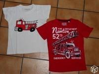 6 ans lot de deux tee shirts thème pompiers 6€