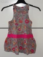 5€ robe fleurie gris et rose Orch 6 ans