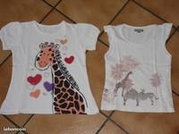 6 ans Deux tee shirts girafes 2€