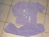 4€ pyjama velours mauve ours et flocon T 8 ans