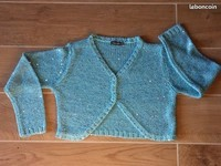 3€ taille 10 ans gilet boléro turquoise