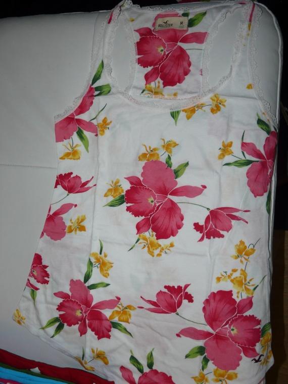 Débardeur blanc fleuri Hollister T.M & L