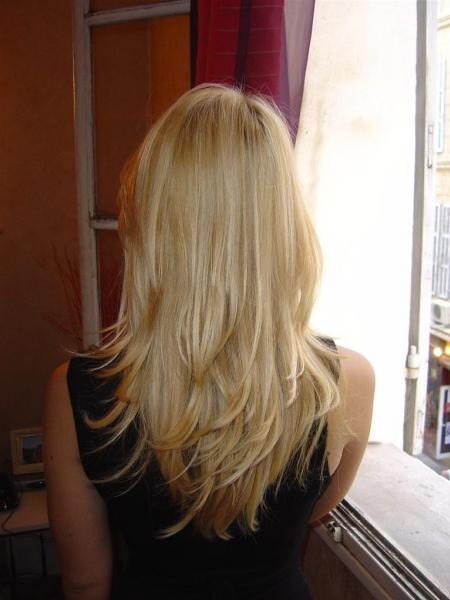Coupe en v sur cheveux long