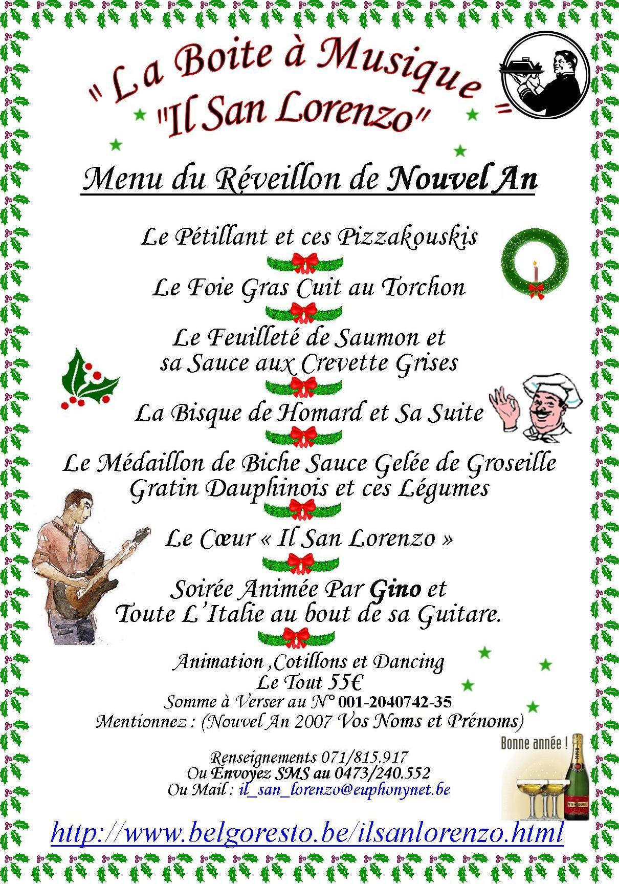 Reveillon de nouvel an 2007 2006 06 15 menus des fetes de fin d 39 annee 2006 boite a musique - Menu de noel original ...
