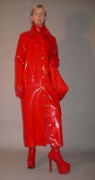 Long red vinyl coat_boots