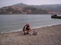 Avec papa à la plage