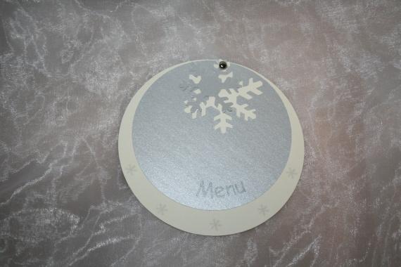 menu ivoire ,gris irisé flocon