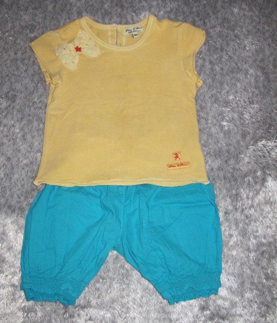 12e - Ensemble été 2 pièces Eliane et Lena 12 - 18 mois ; T-shirt 18 mois et bas 12 mois mais taille