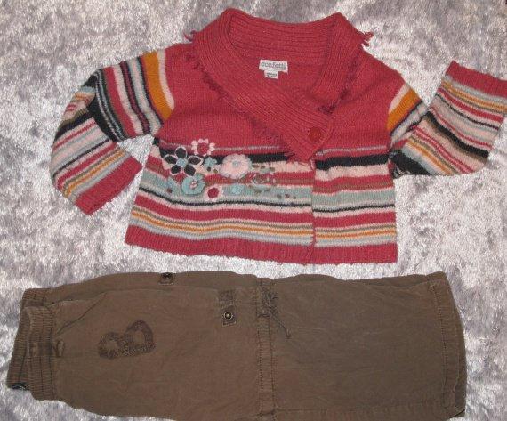 26e - Ensemble cache coeur et pantalon jean bourget et confetti 18 mois