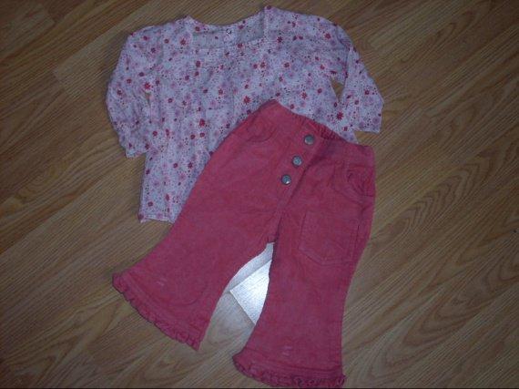pantalon velour 3,50e+blouse 3,50E