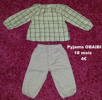 pyjama OBAIBI 18 mois - 4€