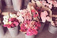 roses en seaux