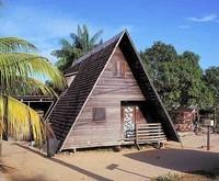 les maisons en bois noirs