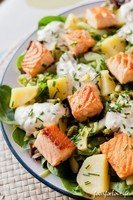 salade pomme de terre-concombre saumon