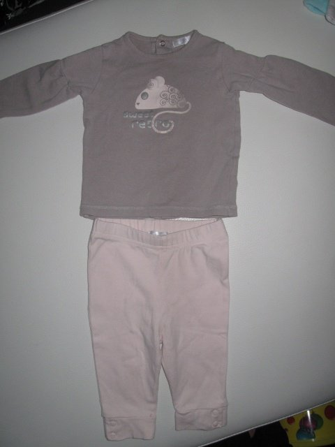 Ens Tshirt ML gris/ legging rose : 3€