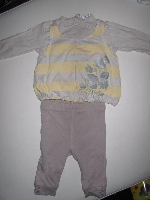 Ens top gris/jaune et legging gris 3€
