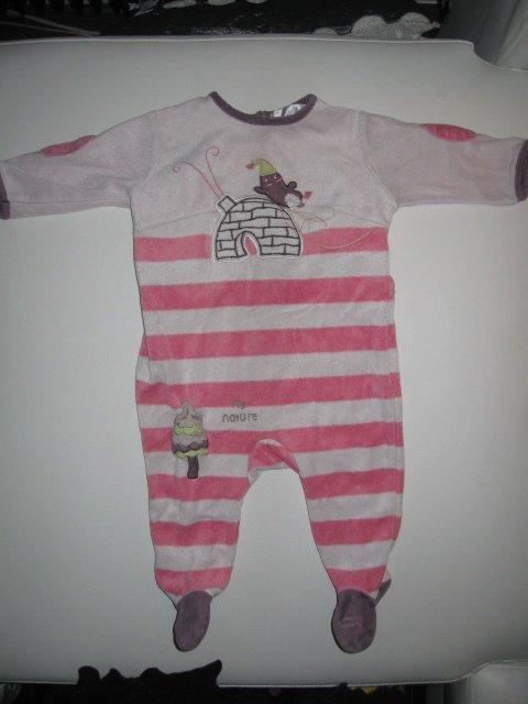 pyjama rayé rose 2€