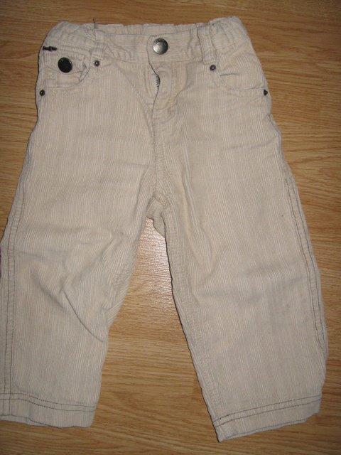 Pantalon velour beige TBE 5E-50%=2,50€