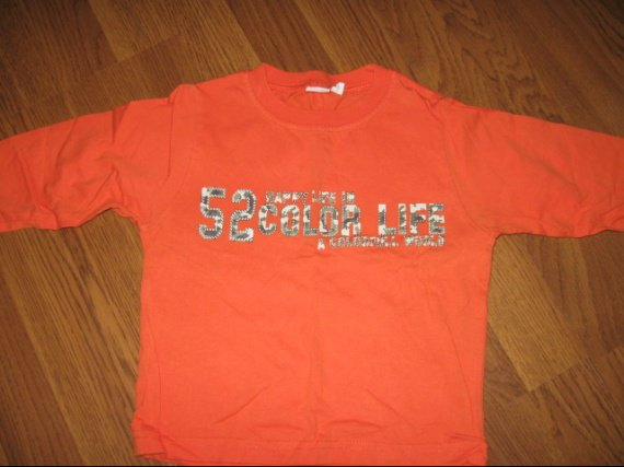 Tee shirt ML orange 24mois 2€-50%=1€