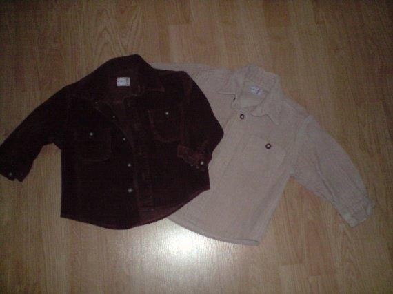 2 Chemises velours 18 mois 3€ l'unité La marron est vendue