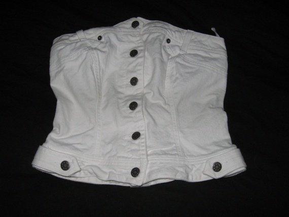 Bustier en jean blanc T36 3€