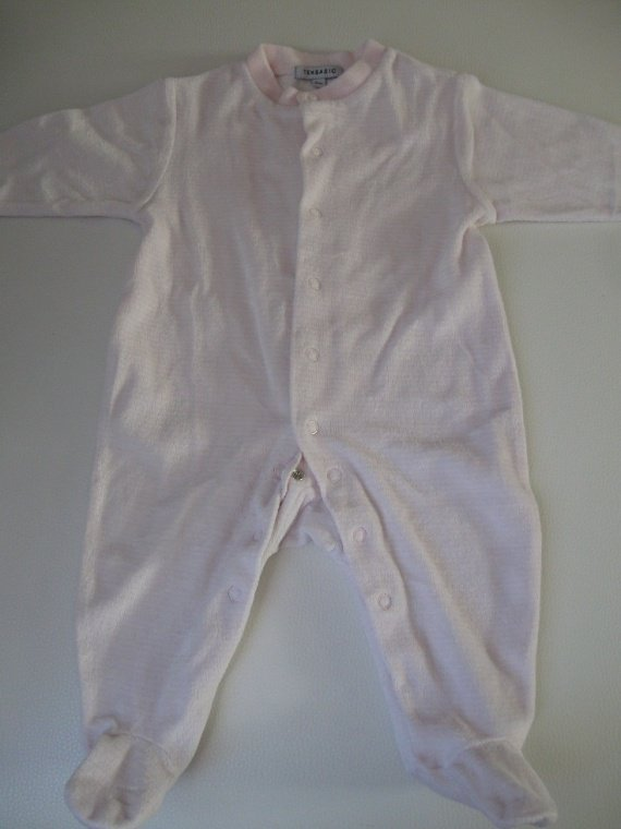Pyjama rayé blanc/rose clair 1€ 6mois