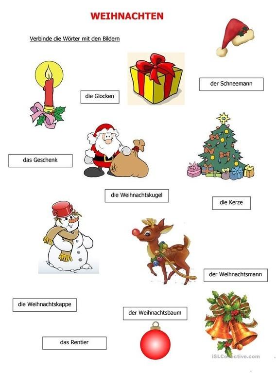 Weihnachten Verbinde Die Worter Mit Den Bildern Deutsch