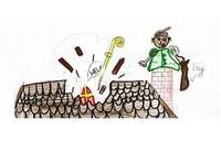 Schoorsteenpiet en Sinterklaas die zakt door het dak