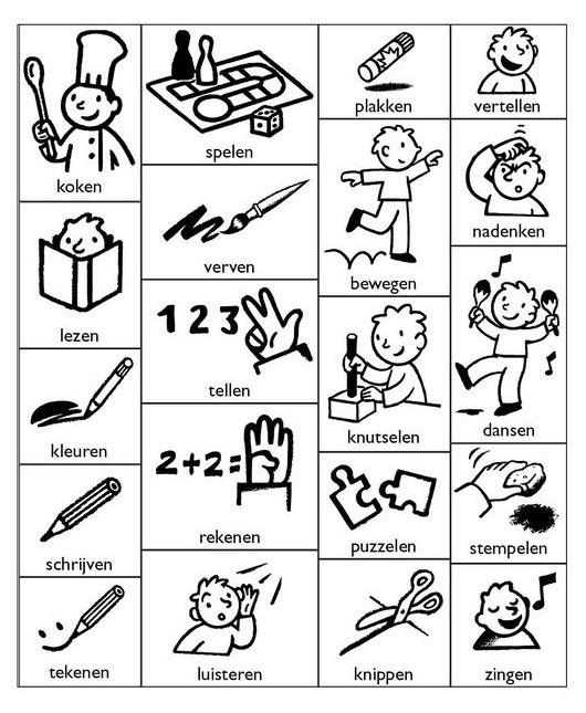 Werkwoorden (verba) - schoolactiviteiten