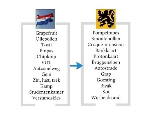 Lexicale  verschillen tussen Nederland en Vlaanderen
