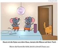 Kaum ist die Katze aus dem Haus, tanzen die Mäuse auf dem Tisch