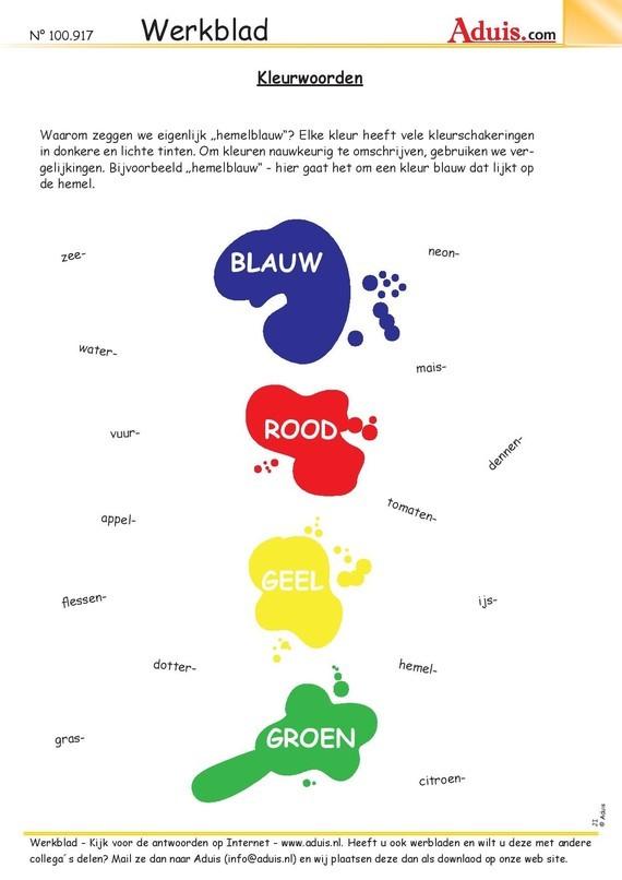 Bijvoeglijke naamwoorden (adjectieven) : kleurwoorden [1]