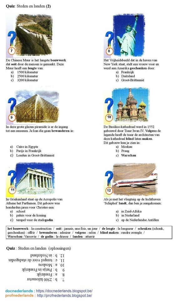 Quiz : 'Steden en landen' [2]