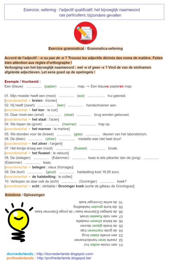 Exercice, oefening (3) - het bijvoeglijk naamwoord (bijzondere gevallen)