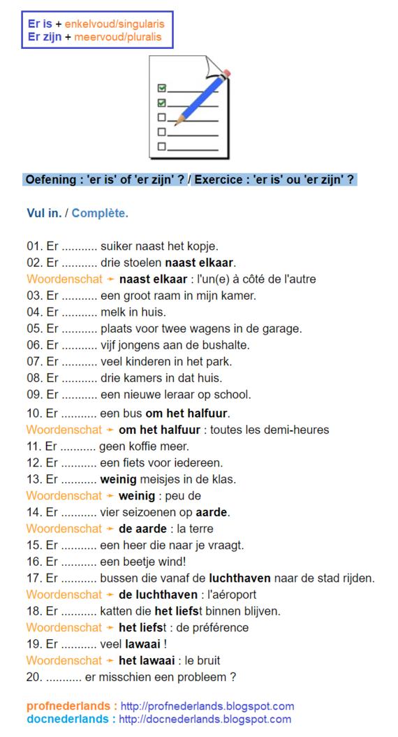 Grammatica-oefening : er is, er zijn