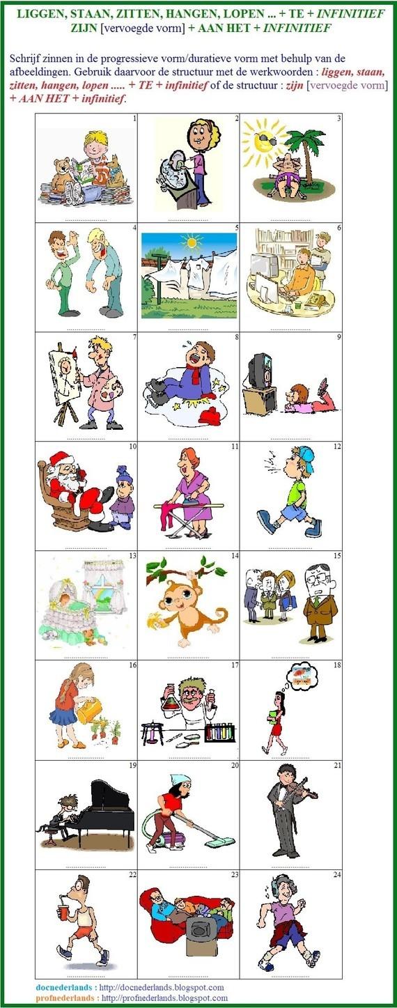 de positiewerkwoorden, de positieverba (oefening) / les verbes de position (exercice)