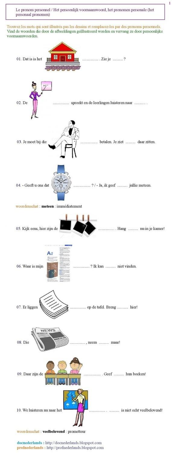 Grammatica-oefening : het persoonlijk voornaamwoord (1)