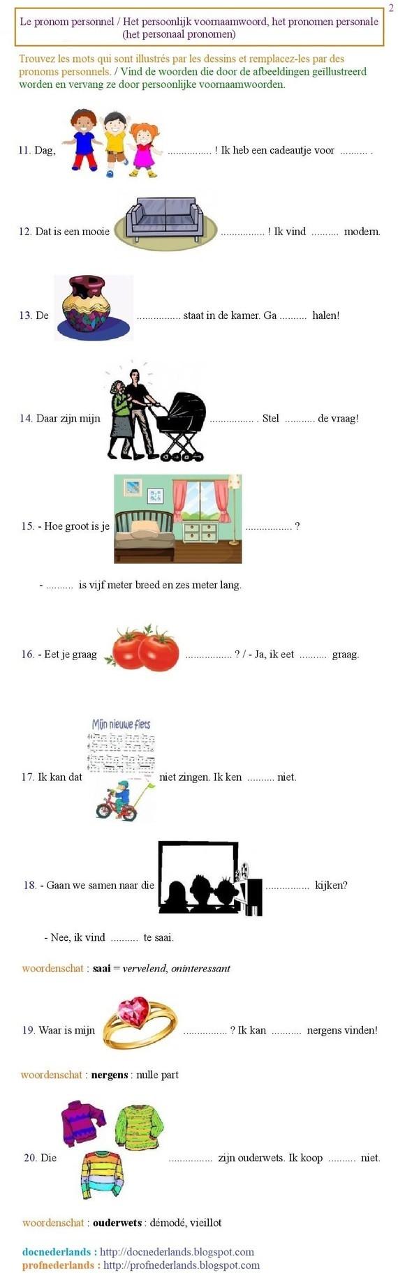 Grammatica-oefening : het persoonlijk voornaamwoord (2)
