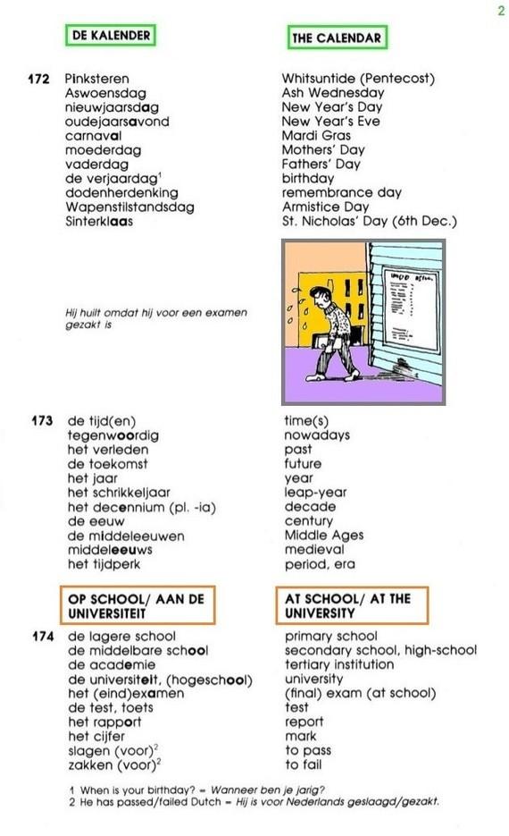 De kalender (2) + Op school / aan de universiteit