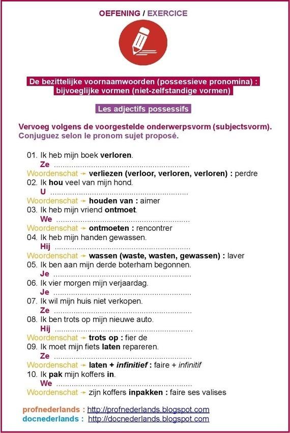 De persoonlijke voornaamwoorden (possessieve pronomina) / Les adjectifs possessifs