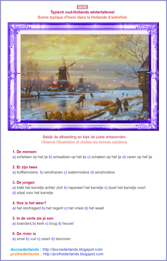 Oud-Hollands wintertafereel (quiz)