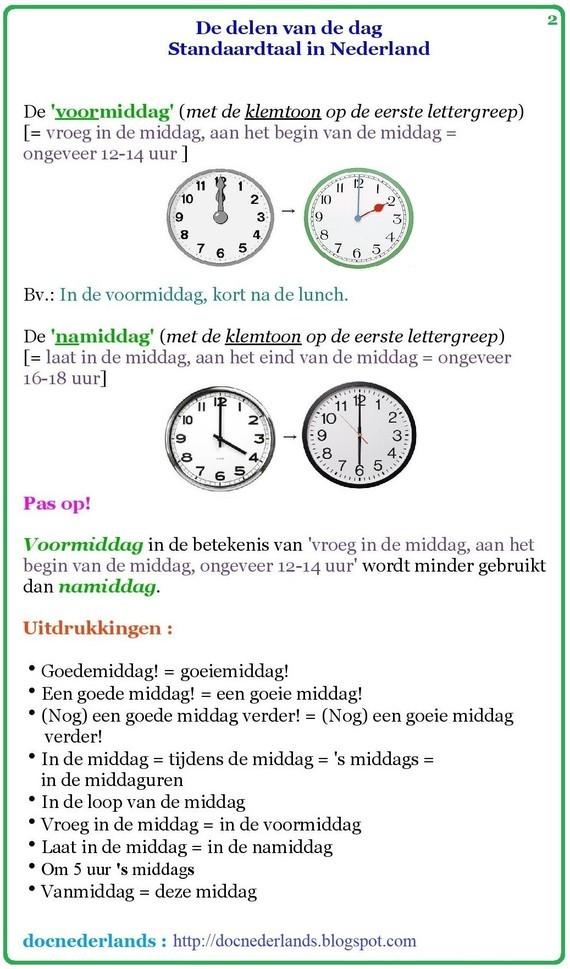 De delen van de dag (in Nederland) 02