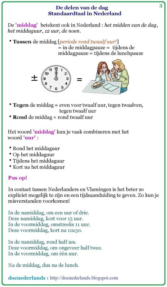 De delen van de dag (in Nederland) 03