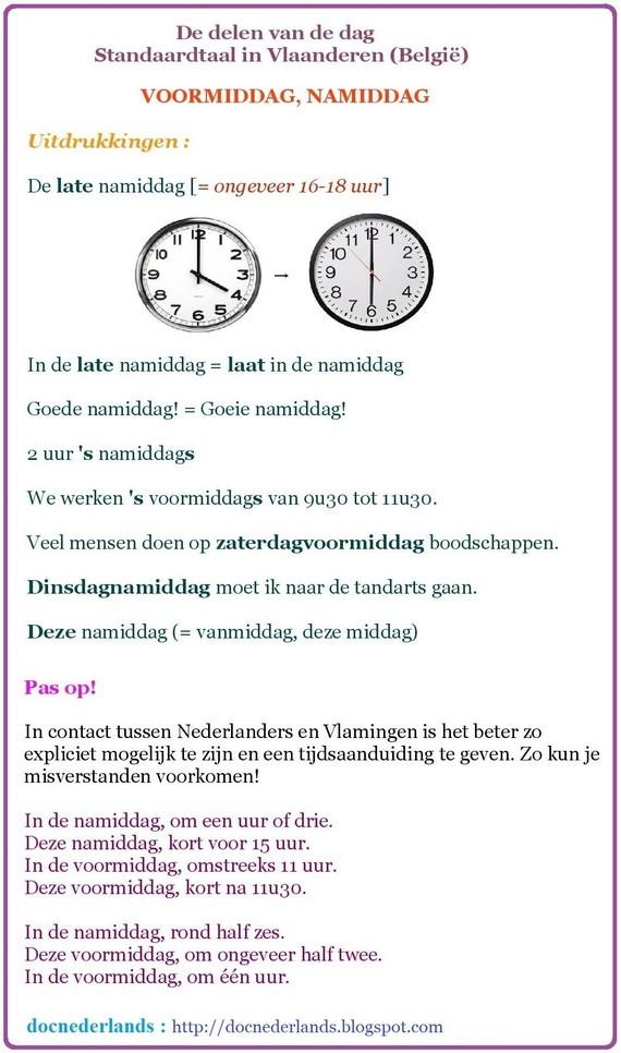 De delen van de dag (in Vlaanderen/België) 03