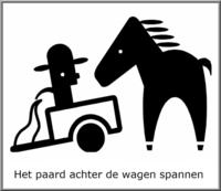 Het paard achter de wagen spannen