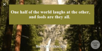 One half of  the world laughs at the other, and fools are they all.